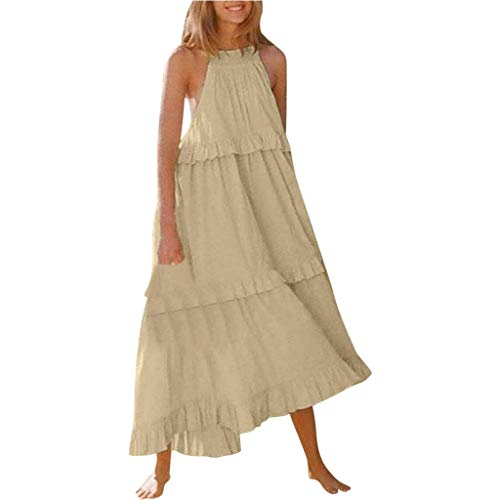 Sunhusing Ladies New Solid Color Off-Shoulder Hanging Neck Sleeveless Stitching Casual Layered Cake Dress Beige