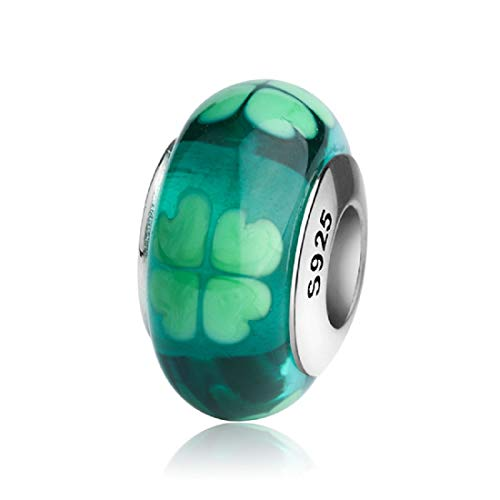 - EVESCITY 925 Real Silver Gold Beads for Charm Bracelets ♥ Best Jewelry Gifts for Mothers Day ♥ (Irish Shamrock Four (4) Leaf Clover Murano)