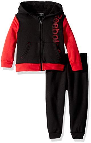 Reebok Boys' Toddler Spun Poly Fleece Power Moves Hoodie and Jog Pant, Black, 3T