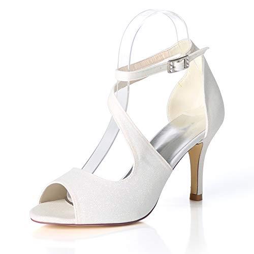 White Cms Elasticità Tacchi Sandali Bocca 8 Toe Fibbia Multicolore Alti Con Donna Donna Moojm 5 6qcn7zz