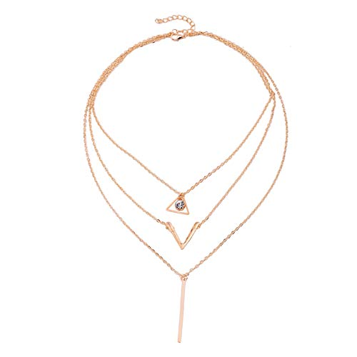 Aineecy Multi-Layer Bar Pendant Necklace Geometric Crystal Sequin V Shape Necklace Choker Clavicle Chain for Women Girls
