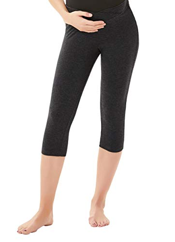 Women's Under The Belly Supersoft Support Maternity Capri Leggings Deep Grey, X-Large