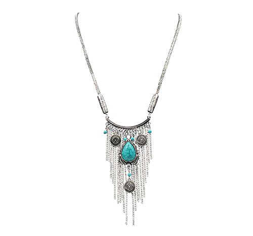 Real Spark Womens Turquoise Stone Tassels Opera Length Statement Necklace Silver Set