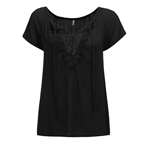 Aniywn Women Lace V Neck Short Sleeve Tops Summer Casual Plus Size Pure Color Blouse T-Shirt Black ()