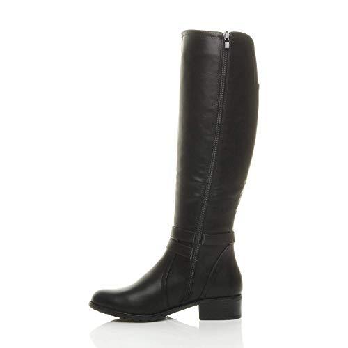 wide low zip size stretch heel Ajvani buckle strap biker calf Womens Gusset ladies Black boots riding flat nxqgUq