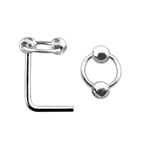 Plain Ball on Moving Ring Top 22 Gauge Silver L Shape - L Bend Nose Stud Nose Pin