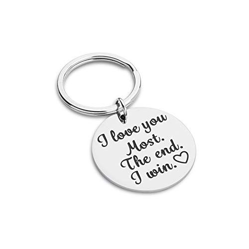 Boyfriend Girlfriend Birthday Gift for Him Her Funny Couple Keychain for Wife Husband Wedding Women Men Boys Girls i Love You Most The End i Win Anniversary Valentine Day]()