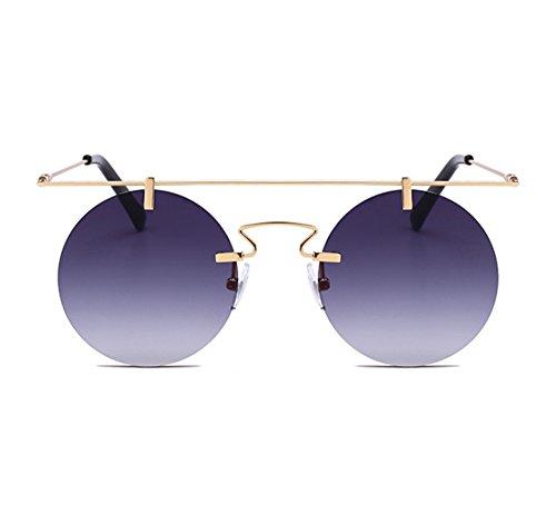 vendimia Oro la polarizadas sol de Gafas circulares UV400 Steampunk tradicionales no marco Degradado Gris de sin xvxOSBzw1q
