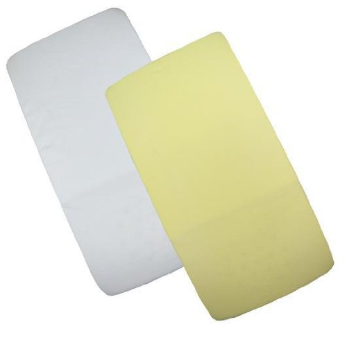Babyprem Nursery 2 Fitted Cotton Cradle Mattress Sheets 17 X 33'' White & Lemon