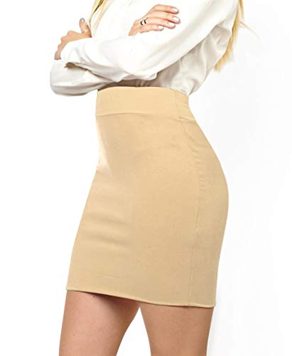 MBJ WB2141 Women's Elastic Waist Stretch Bodycon Midi Pencil Skirt Above The Knee Length Classic Skirt XL Khaki