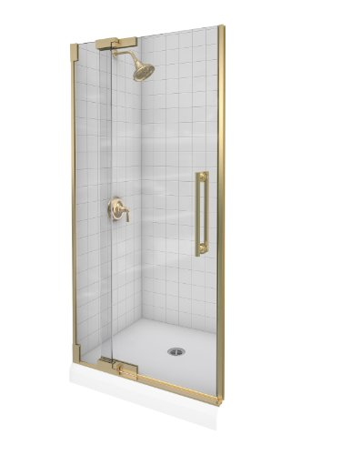 - Kohler K-705713-L-ABV Purist Heavy Glass Pivot Shower Door, 33 1/4
