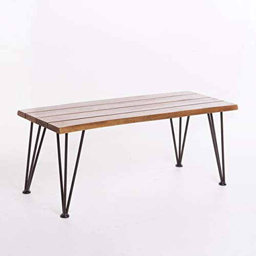 GDF Studio 300900 Zephyra Outdoor Rustic Finished Iron Acacia Wood Coffee Table, Red-1103