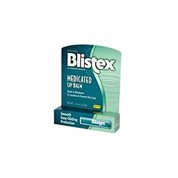 Blistex Medicated Lip Balm SPF 15 0.15 oz (Pack of 3) Portable Cold Cooling Pain Relief Face and Body Massage Skin Care Beauty Ice Roller