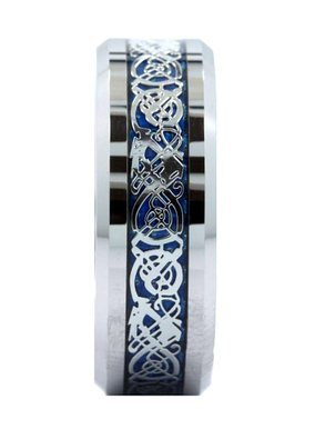 tungsten with blue and silver celtic dragon ring wedding band 8mm 85