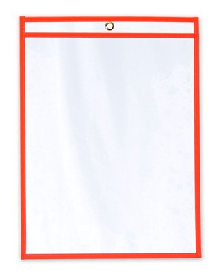 11'' x 17'' Vinyl Job Ticket Holder with Fluorescent Red Stitched Edges (5.75 Gauge) (15 Holders) - AB-99-10-08R by Miller Supply Inc