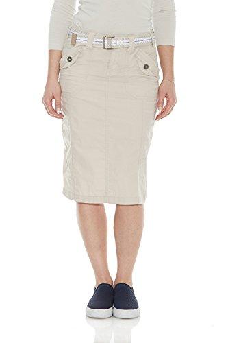 - Esteez Women's Knee Length Stretch Poplin Cargo Skirt Virginia Stone 10