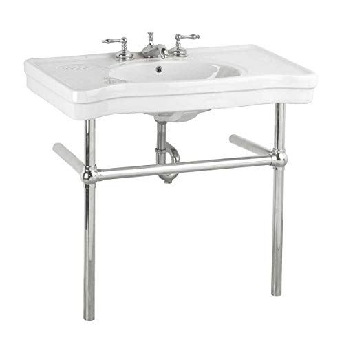 (White Console Sink Belle Epoque Deluxe With Chrome Bistro Legs)