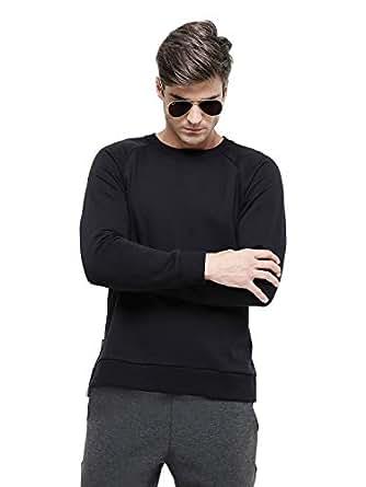 TruEagle Black Round Neck Hoodie & Sweatshirt For Men