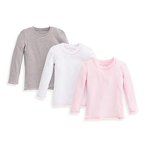 ls Toddler T-Shirts, 3-Pack Short Long Sleeve V-Neck & Crewneck Tees, Blossom/Grey/Cloud, 2 ()
