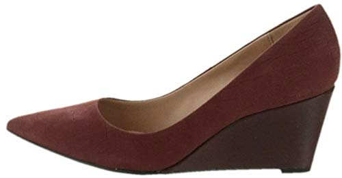 Halston Embossed Croco Leather Wedge Pumps Sandy Bordeaux 5M New A269838