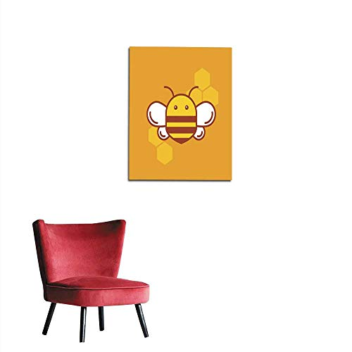 Photographic Wallpaper Bee Thin Lined icon Bumblebee Logotype Design Mural 24