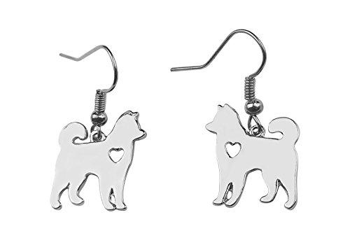 (Art Attack Silvertone I Love My Dog Lover Heart Siberian Alaskan Malamute Akita Husky Pet Rescue)