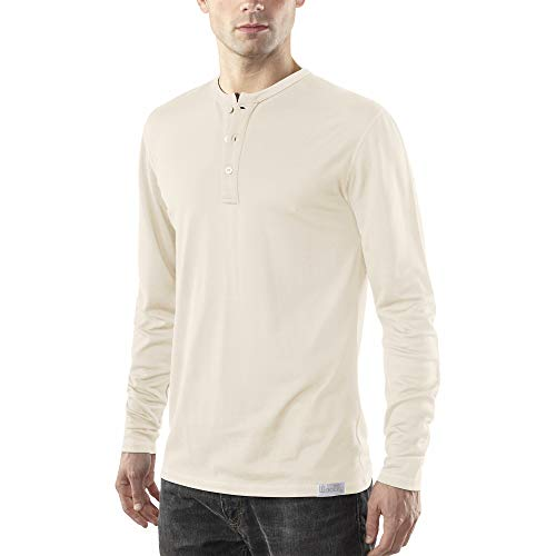 Woolly Clothing Men's Merino Wool Long Sleeve Henley - Everyday Weight - Wicking Breathable Anti-Odor S LIN