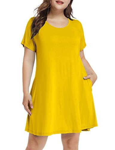 LARACE Women's Short Sleeve Swing Tunic Casual Pockets Loose T Shirt Dress (X-Large, A-Short Yellow)