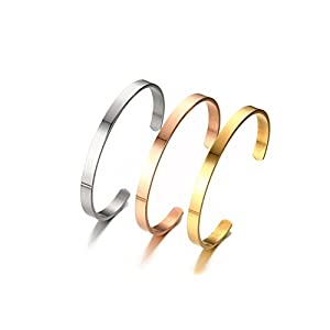 XUANPAI 6MM Free Custom Engraving Initial Name Date Stainless Steel Cuff Bangle Bracelet for Women Men