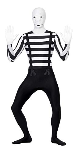Smiffys Men's Mime Second Skin Costume, Bum Bag, Concealed Fly and Under Chin Opening, Legends of Evil, Halloween, Size M, 24619