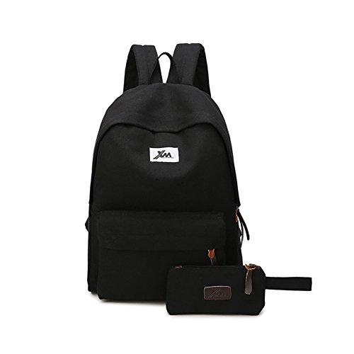 LHZY 15,6 Zoll Casual Canvas Schule Schultertasche Laptop Rucksack Daypack klassische Schultasche Rucksack für große Reisen SCHWARZ