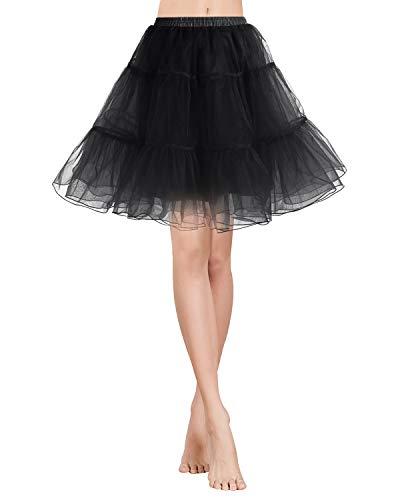 Gardenwed Vintage Women's 1950s Rockabilly Mini Tutu Skirt Retro Petticoat Crinoline Underskirt Black XL