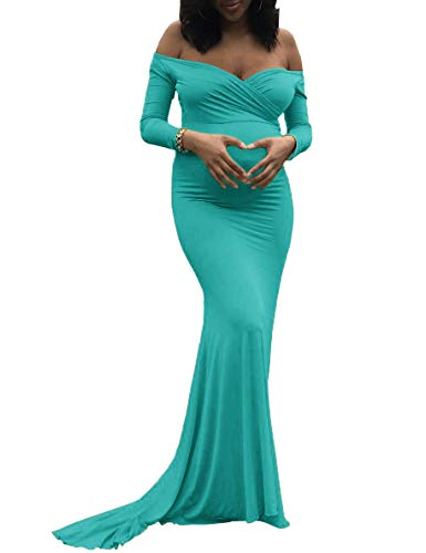 Saslax Maternity Elegant Fitted Maternity Gown Long Sleeve Slim Fit Maxi Photography Dress Sweetheart Green L