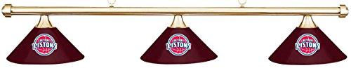 Imperial NBA Detroit Pistons Burgundy Metal Shade & Brass Bar Billiard Pool Table Light