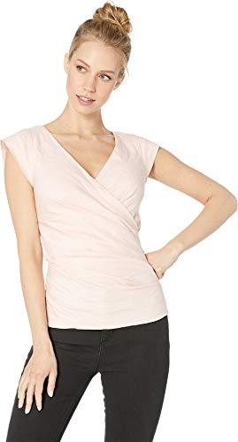 (Nicole Miller Women's Cotton Metal V-Neck Top Peach Daquari Large)