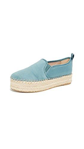 Sam Edelman Women's Carrin Platform Espadrille Slip-On Sneaker Blue Shadow Matte Satin