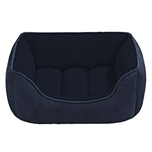 Beatrice Home Fashions SUEPTB24NVB Suede Reversible Cuddler Bed for Dogs/Cats/Pets, Navy/Blue
