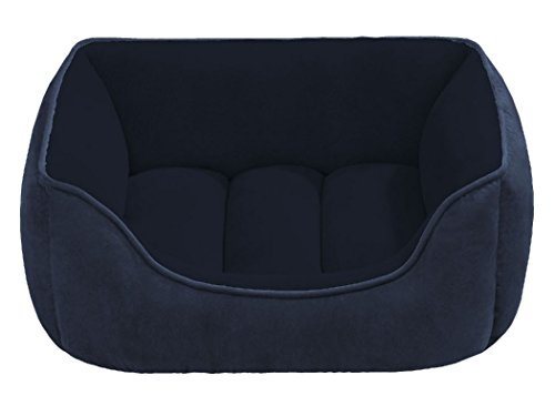 Beatrice Home Fashions SUEPTB24NVB Suede Reversible Cuddler Bed for Dogs/Cats/Pets, Navy/Blue ()
