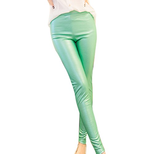 Zhhlaixing mujeres Fashion Thin PU Leather Trousers Pencil Pants Skinny Leggings Green