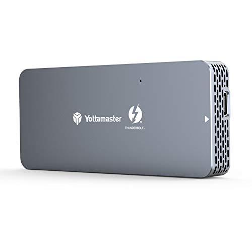 Yottamaster Thunderbolt 3 SSD Enclosure, 40Gbps Thunderbolt 3 to NVMe m.2 M-Key SSD Aluminum External Enclosure for 2280 M.2 NVMe SSD,with 50cm Thunderbolt Cable(Intel Certified)