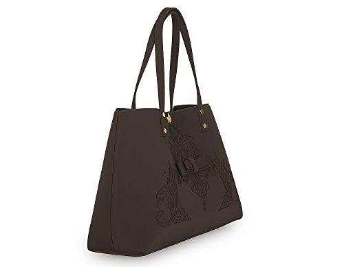 Shopping bag in neoprene LA FILLE DES FLEURS BORSA jackie SEPPIA 34x17x30(dai manici 46) �?