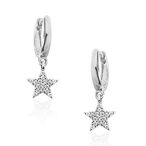 (Humble Chic Huggie Hoop Earrings - Small Pave Star Charm Dangle Round Cuff CZ Studs Tiny Crystal Mini Drop Loops, Silver-Tone Star )