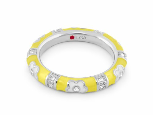 - Lauren G Adams Rhodium-Plated Stackable Pave Daisy Love Ring with Enamel