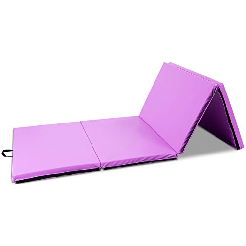 Exercise Mat 4'x10'x2 Portable Gymnastic Mat Thick Folding Gym Fitness Purple with Ebook