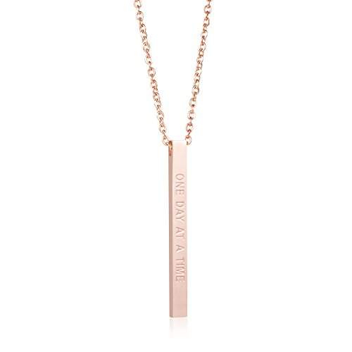Joycuff Inspired Jewelry New Mom Gifts Vertical Bar Necklace Mantra Sobriety Saying One Day at A Time (Vertical Mom Pendant)