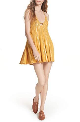 Free People Women's Embellished Swing Minidress Golden Sunflower Size Medium