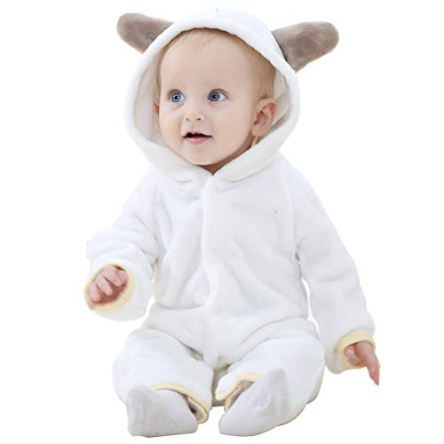 MICHLEY Baby Girls Boys Romper Bear Style Jumpsuit Autumn & Winter Cosplay Clothes White-100]()