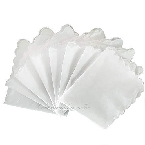 Beautiful Scalloped - White Handkerchief scalloped edge hem. Set of 12. Premium material, Ultra Soft, by EmbroiderableLinens©