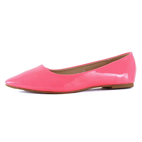 Guilty Shoes Womens Classic Pointy Toe Ballet Slip On - Casual Comfortable Flats (7.5 M US, Neon Pink)