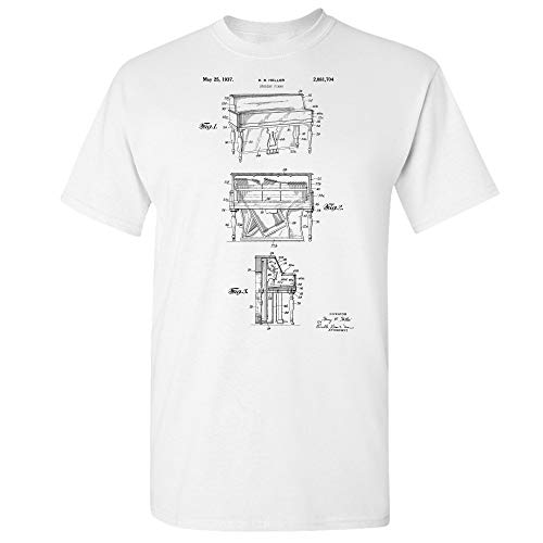 Upright Piano T-Shirt, Pianist Gifts, Music Teacher, Band Director Gift, Concert Player, Symphony Orchestra, Opera Hall White (Small) (Fool In The Rain Piano Sheet Music)